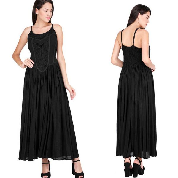 Ladies GOTHIC Black Medieval Long Dress